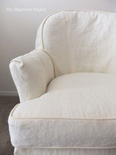 Hemp French Linen slipcover with hemp canvas welt cord trim. Simple and chic.