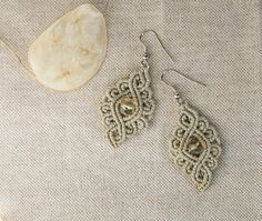 Gray Dangle Earrings / Fine Lace Jewelry / by UtilartMacrame, €20.00