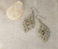 Gray Dangle Earrings / Fine Lace Jewelry / by UtilartMacrame, €20.00