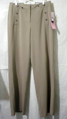 LARRY LEVINE Slim Fit Pant Womans 8 Tan Wide Leg Slacks     LARRY LEVINE Slim Fit Pant Womans 8 Tan Wide Leg Slacks					    	 	  LARRY LEVINE