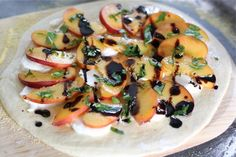 Peach, Basil, Mozzarella, & Balsamic Pizza Recipe | Two Peas & Their Pod