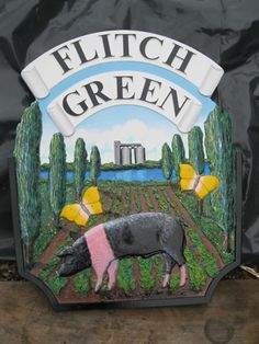 Nice to see a traditional British pig breed on a sign, representing the flitch (of bacon). House Name Plaques, House Names, Pig Breeds, Old Irish, Town Names, English Village, Pub Signs, My Kind Of Town, This Little Piggy