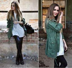 Look Militar: calça preta e casaco verde [2]