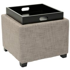 @Overstock - Safavieh Harrison Grey Viscose Tray Ottoman - Combine modern style and functionality with this gray viscose tray ottoman. Made with a wood frame and upholstered with viscose blend fabric, this ottoman features black-finished legs and a removable tray that is perfect for entertaining guests.  http://www.overstock.com/Home-Garden/Safavieh-Harrison-Grey-Viscose-Tray-Ottoman/6462793/product.html?CID=214117 $111.99