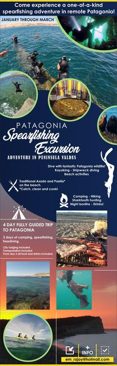 Patagonia spearfishing-camping excursion - first flyer draft for your review! #camping #hiking #outdoors #tent #outdoor #caravan #campsite #travel #fishing #survival #marmot bit.ly/2P1Va2M