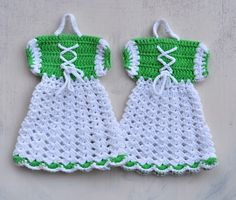 cute crocheted potholder dresses, #crochet  These can be put together, to hang over a dish detergent bottle.  Love the design
