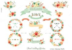 Check out Floral Wedding Collection by Delagrafica on Creative Market Doodle Patterns, Print Patterns, Wedding Paper, Floral Wedding, Logo Floral, Watercolor Branding, Wedding Graphics, Beautiful Handwriting, Bohemian Design