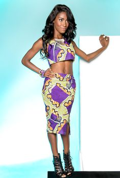 Spintext two-piece skirt set. Limited quantities available. www.stylemeankara.ca