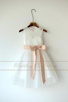 Ivory Lace Tulle Flower Girl Dress With Blush Sash and Bow