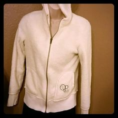Fuzzy White Zip Up Hoodie So very soft and fuzzy inside and out for a cozy sweatshirt to throw on when you are riding around in a boat on your annual camping trip. Very comfy cozy.  Quite Clean after being gently pre-loved. Ocean Pacific OP Jackets & Coats Utility Jackets