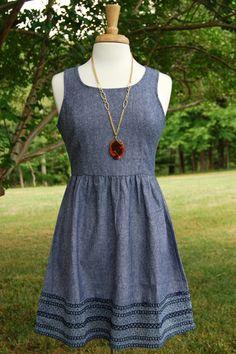 Denim Embroidery Dress