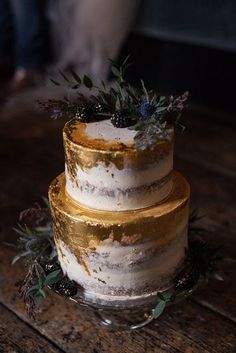 Blue Gold Leaf Cake Buttercream Naked Luxe Victorian Wedding Ideas http://www.francescarlisle.co.uk/ #weddingcakes