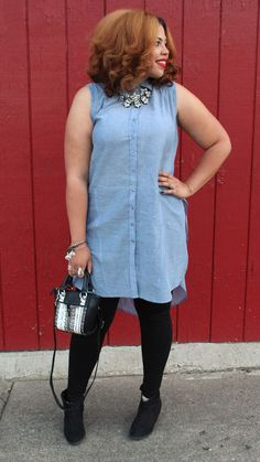 Plus Size Fashion from Fashion To Figure | Miley Chambray Tunic Top $16.99