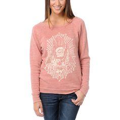 Obey All Eye Heather Red Vandal Crew Neck Sweatshirt