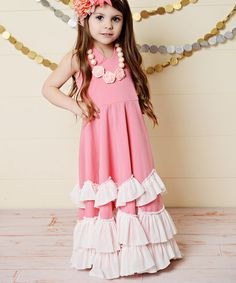 Look at this Pink Ruffle Tiered Halter Dress - Toddler & Girls on #zulily today!