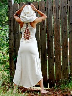 The Nienna Dress With Hood And Open Back In Cream by ZhenNymph, $100.00.  Like the dress just not on her.