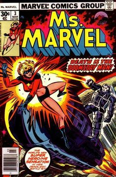 Continued from last issue.... Reviving from a knock out while battling the Destructor, Ms. Marvel resumes her battle until AIM arrives. They cause enough carnage to keep Ms. Marvel busy while they make their escape from Destructor. Ms. Marvel saves some spectators from danger before fleeing the scene and changing back to Carol Danvers. Returning to the Daily Bugle, she canceled her next appointment with Dr. Barnett and comes across a story about a female astronaut that she gets J. Jonah...