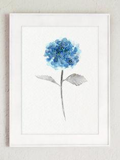 Blue Hydrangea Watercolor Painting. Floral Arrangement Fine Art Print. Decorative Painted Nursery Decor. Hydrangea Poster Girls Room Decor.