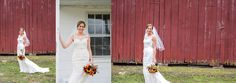 Rustic barn, bridal portraits. Carla Lutz Photography Southern Maryland Wedding Photographer  Elegant and rustic, fall wedding, red, orange bouquet. Outdoor family farm ceremony with mums and pumpkins.   Maryland, DC and Virginia wedding photographer.