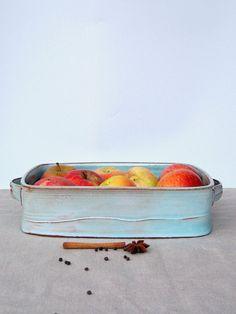 large baking dish ceramic baking dish turquoise by FreshPottery