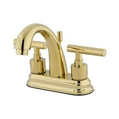 Elements Of Design Manhattan Polished Brass 2-Handle 4-In Centerset Ba