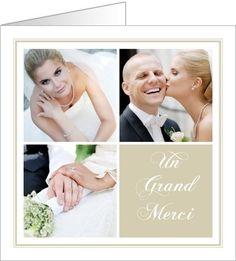 carte de remerciements mariage lgance couleur crme disponible en 4 formats et 2 coloris diffrents - Modele Carte Remerciement Mariage