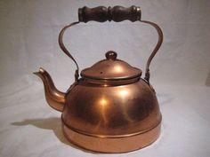 Tagus Copper Tea Kettle Tea Pot Lid & Wood Handle Made in Portugal