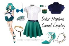 """""""Sailor Neptune Casual Cosplay"""" by cupcake-curiosities ❤ liked on Polyvore featuring Vince Camuto, Pilot, Madina Visconti di Modrone, David Tutera, Chanel and FUEGO WOMAN"""