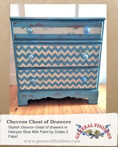 Lovin' the chevrons! Drabs 2 Fabs used General Finishes Halcyon Blue Milk Paint to get this very cool decorative look. We'd love to see your projects made with General Finishes products! Tag us with #GeneralFinishes or share with us through our facebook page.