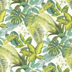 Florida Soft Fabric by Camengo Tropical Curtains, Tropical Fabric, Tropical Prints, Textile Prints, Leaf Prints, Tropical Upholstery Fabric, Modern Tropical, Print Wallpaper, Funky Wallpaper