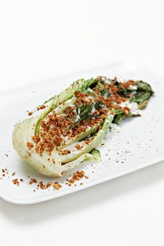 Grilled romaine with Parmesan-lemon fonduta and garlic breadcrumbs
