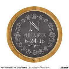 Personalized Chalkboard Monogram Wedding Date Cheese Platter