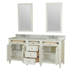Samantha 72-inch white double vanity features classic details and will add a level of sophistication that is perfect for any bathroom remodel and offers the expected security of durability. 100 percent solid hardwood construction with dovetail joined drawers makes this collection classy. Samantha vanity comes fully assembled with the marble counter top and ceramic sink attached to the base for easy installation.