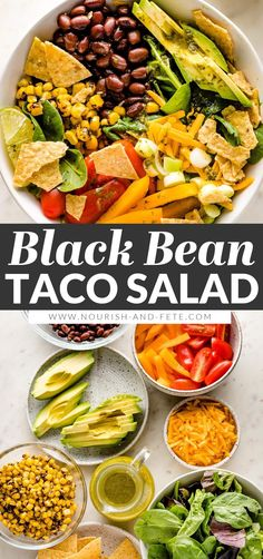Tacos get a healthy upgrade in the form of a Vegetarian Taco Salad with black beans, a rainbow of veggies, crushed tortilla chips, and a mouth-watering fresh cilantro lime salad dressing. Great Salad Recipes, Easy Healthy Recipes, Vegetarian Taco Salad, Vegetarian Recipes, Mexican Meals, Mexican Food Recipes, Easy Family Meals, Family Recipes, Lime Salad Dressing