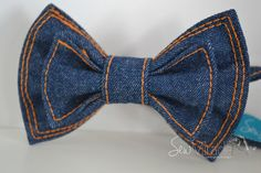 Denim bow tie, Men's bow tie, Decorated with jeans thread, Handmade bow tie, perfect accessory for any outfit