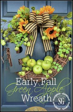 Inspiring Fall Wreath Round Up. I have pears I can use for this - plus a monogram and lots of burlap!