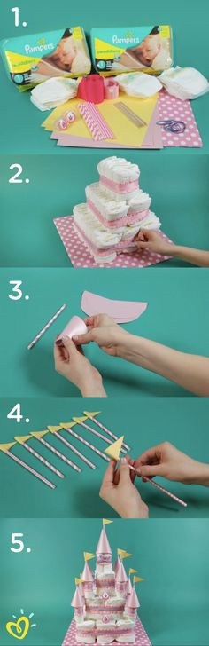 Baby Shower - Learn how to create this fun DIY princess diaper cake castle with an easy step-by-step video. This would make a wonderful baby shower gift, decoration, or thoughtful surprise for your close friend and her new bundle of joy. Baby Party, Baby Shower Parties, Baby Showers, Baby Shower Themes, Baby Shower Decorations, Baby Shower Gifts, Baby Gifts, Shower Ideas, Castle Decorations
