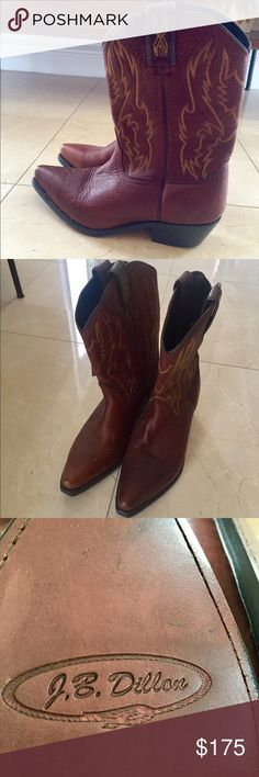 J.B. Dillon cowboy boots brand new Incredible cowboy boots! This brand is the very best in boots!! Perfect to wear with jeans, shorts dresses.  Very versatile! Dark brown.  Never worn.  NWT. Man made. High quality Leather.  Pictures 2-4 are the actual boots.  Purchased at the JB Dillon store in Nashville JB Dillon Shoes Heeled Boots