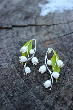 Lily of the valley earrings - polymer clay handmade pendant - bridal shower…