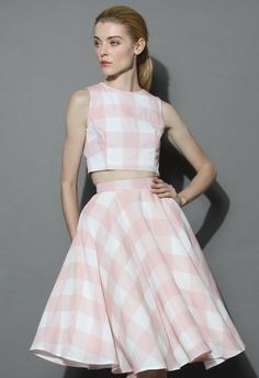 Check and Chic Cropped Top and Skirt Set - Skirt - Bottoms - Retro, Indie and Unique Fashion