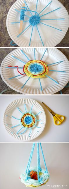 here's an easy weaving project for kids - making a doll hammock!