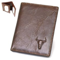 New Mens Leather Business Mini Wallet Bifold Zippered Coin Pocket Purse-3852 #BlueMount #Bifold #leather #wallet