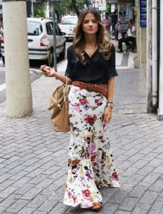 Look Casual Chic, Casual Looks, Mode Outfits, Fashion Outfits, Womens Fashion, Maxi Skirt Outfits, Maxi Skirts, Mein Style, Floral Print Skirt