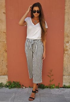 Get this look: http://lb.nu/look/8349469 More looks by Elly Leavitt: http://lb.nu/ellyleavitt Items in this look: Forever 21 White V Neck Tshirt, Zara Striped Culottes #chic #minimal #street #zara #culottes #stripes #nautical #simple #casual