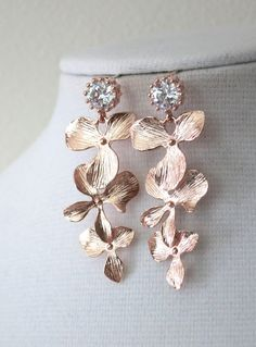 Rose Gold Cubic Zirconia Earring with Orchid Flower Dangle - gifts for her, pearl earrings, bridal gifts, drop, dangle, pink gold weddings, www.colormemissy.com