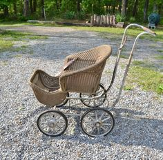 Antique Heywood Wakefield Wicker Baby Stroller Buggy Carriage Photo Prop Panchosporch