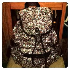 Justice Handbags - Multi color sequined Justice backpack