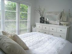 Ikea white Hemnes bed with gray bedroom paint. Ikea Bedroom Sets, Bedroom Dresser Sets, Ikea Bedroom Design, Ikea Bedroom Furniture, Room Ideas Bedroom, Modern Bedroom Design, White Bedroom, Bedroom Decor, Master Bedroom