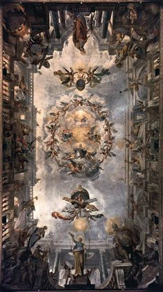 Artwork of the day - Ceiling decoration - Giovanni Alberti (b. 1558, Borgo San Sepolcro, d. 1601, Roma) 1596-1602 Fresco The Sala Clementina in the west wing of the Vatican Palace was painted between 1596 and 1602 by the quadratura painters Giovanni and Cherubino Alberti. In the centre of the illusionistic ceiling opening St Clement is depicted in glory, framed by a number of virtues and by huge cartouches with the papal coat of arms. #vaticanmuseums #art #artworkoftheday