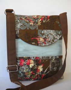 Messenger Bag / Crossbody Bag in Brown and Blue by jazzygeminis, $30.00